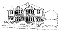 A pencil drawing of the front of the Links Road Surgery building