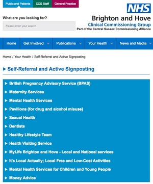 Brighton & Hove CCG Self-Referral and Active Signposting